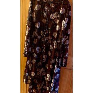 Plus size boho dress floral chiffon
